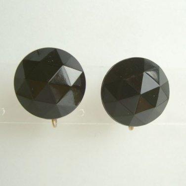 Black Faceted Rose Cut Plastic Adjustable Clip On Earrings Vintage 1960 Jewelry