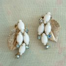 Aqua Blue AB Rhinestones White Navettes Leaf Clip Earrings Vintage Jewelry