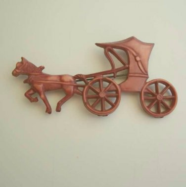 Old Horse Carriage Brown Carriage Horse Pin Brooch c1940 Vintage Jewelry