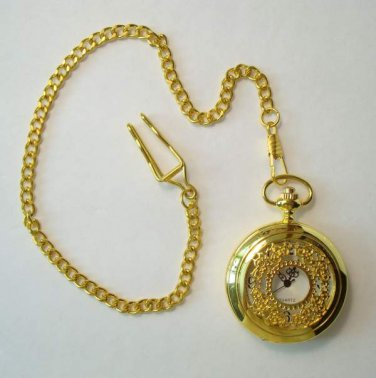 Quartz Pocket Watch with Curb Link Watch Chain