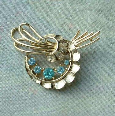 Aqua Blue Rhinestone Circle Wreath Pin Brooch Scalloped Ribbons