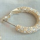 Rhinestone Studded Hoop Earrings Leverback Post Style Jewelry