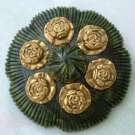 Bakelite Brooch Dress Clip SET Roses Green c1935 Vintage Jewelry