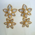 Dior Christian Pearl Rhinestone Drop Clip On Earrings Designer Jewelry