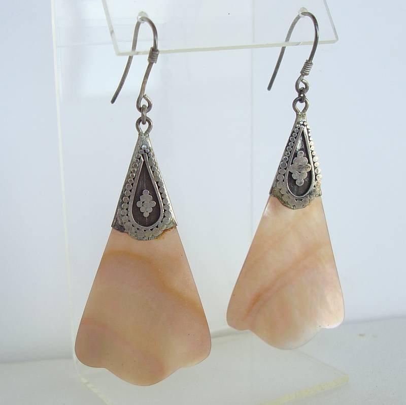 Sterling Silver Shell Dangle Earrings Vintage Jewelry