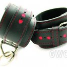 Restraint Wrist Leather with Red Hearts