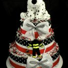 3 Tier Dalmatian Baby Shower Diaper Cake Centerpiece Gift Fireman Fire Engine