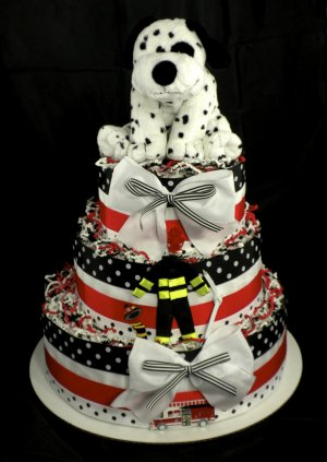 how to make a fire truck diaper cake