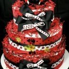 3 tier Stylish Ladybug Diaper Cake Centerpiece Gift Mod Red Black Flower Garden Lady Bug