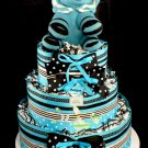 3 Tier Blue Lion Baby Shower Diaper Cake Centerpiece Gift Mod Blue and Black