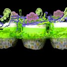 6 pack Diaper Cupcake Sweet Pea Baby Shower Centerpiece Gift Cake