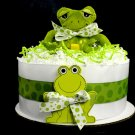 1 Tier Frog Diaper Cake Baby Shower Centerpiece Gift