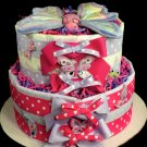 2 Tier Butterfly Diaper Cake Baby Shower Centerpiece Gift Blankets Girl Purple and Pink polkadot