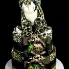2 Tier Leopard Diaper Cake Baby Shower Centerpiece Gift Neutral Wild Thing Zoo Safari Rainforest