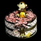 1 Tier Monkey Diaper Cake Baby Shower Centerpiece Gift Girl Pink and Brown polkadot