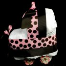 Diaper Bassinet Baby Shower Centerpiece Gift Girl Diaper Cake Pink Brown Polkadot