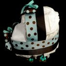 Diaper Bassinet Baby Shower Centerpiece Gift Boy Diaper Cake Blue Brown Polkadot