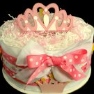 1 Tier Pretty Princess Diaper Cake Baby Shower Centerpiece Gift Girl Pink White