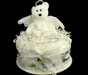 1 Tier Ty Angel Diaper Cake Baby Shower Centerpiece Gift Neutral Halo Heaven Sent
