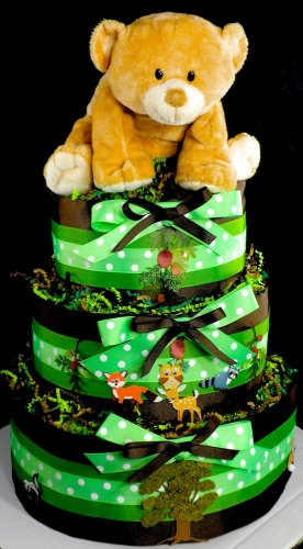 3 Tier Woodland Creatures Enchanted Forest Diaper Cake