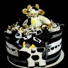 1 Tier Cow Farm Diaper Cake Baby Shower Centerpiece Gift Neutral Black White