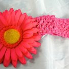 Hot Pink Flower Hair clip matching Crochet Headband Daisy Infants Toddlers Girls Gorgeous Gerbera