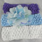 White Purple Tulle Flower Hair clip Crochet Headband Infants Toddlers Girls Blue Pale Green