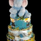 3 tier Blue Elephant Diaper Cake Baby Shower Centerpiece Gift Boy Animals on Parade Jungle Zoo