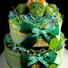 2 Tier Blue Turtle Diaper Cake Baby Shower Centerpiece Gift in a Pond Boy Mary Meyer