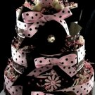 3 tier Bunny Rabbit Diaper Cake Baby Shower Centerpiece Gift Hair Clip Crochet Headband Gymboree