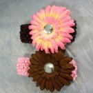 Pink Brown Flower Hair clip matching Crochet Headband Daisy Infant Toddler Girl Gerbera mix match