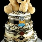 3 tier Puppy Dog Diaper Cake Baby Shower Luxe Centerpiece Gift Boy Mary Meyer