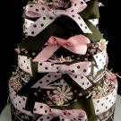 3 tier Pink Brown Polka dot Diaper Cake Baby Shower Centerpiece Gift Hair Clip Crochet Headband Girl