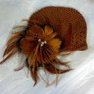Chocolate Brown Feather Flower Clip Crochet Beanie Hat Cap Baby Infant Toddler Girl Brooch