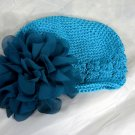 Teal Blue Waffle BEANIE Cap Hat Crochet Hair Flower Clip Baby Infant Toddler Girl Brooch