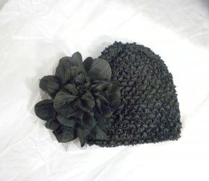 Midnight Black Waffle BEANIE Cap Hat Crochet Hair Flower Clip Baby Infant Toddler Girl Brooch