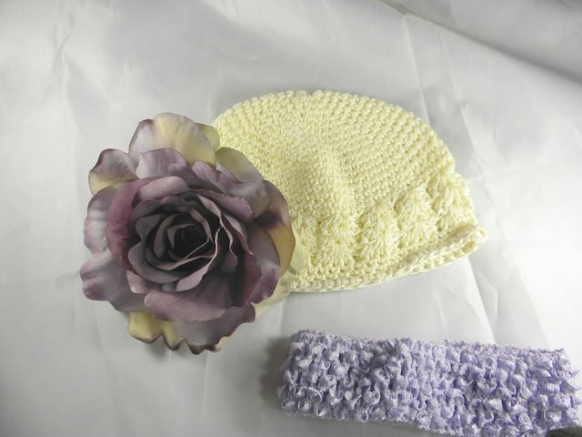 Cream n' Purple Flower Waffle BEANIE Cap Hat Crochet Hair Flower Clip Baby Infant Toddler