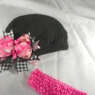 Hot Pink White Black Waffle BEANIE Cap Hat Crochet Hair Bow Clip Baby Infant Toddler Girl