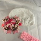 Red Pink Brown White Waffle BEANIE Cap Hat Crochet Hair Bow Clip Baby Infant Toddler Girl