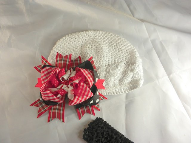 Red Pink Black White Waffle BEANIE Cap Hat Crochet Hair Bow Clip Baby Infant Toddler Girl