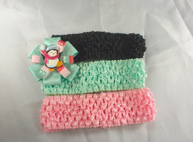 Penguin Pink Green Winter Hair Bow Clip Baby Infant Toddler Girl Black UPIC Headband COLOR