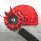 Red Black Waffle BEANIE Cap Hat Crochet Hair Flower Clip Baby Infant Toddler Girl