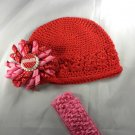 Red Pink Waffle BEANIE Cap Hat Crochet Hair Korker Flower Clip Baby Infant Toddler Girl