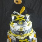 3 tier Burts Bees Bear Diaper Cake Baby Shower Luxe Centerpiece Gift Girl Mary Meyer Black