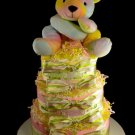 3 Tier Cute as a Button Bear Baby Girl Diaper Cake Baby Shower Centerpiece Gift Pink Yellow Green