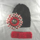 Black Red Polka Dot Waffle BEANIE Cap Hat Crochet Hair Flower Clip Baby Infant Toddler Girl