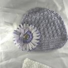 Lilac Purple Newsboy Waffle BEANIE Cap Hat Crochet Hair Flower Clip Baby Infant Toddler