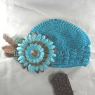 Turquoise n' Brown Flower Waffle BEANIE Cap Hat Crochet Hair Flower Clip Baby Infant Toddler
