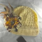 Cream n' Brown Newsboy Waffle BEANIE Cap Hat Crochet Hair Flower Clip Baby Toddler Girl