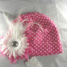 Hot Pink n' White Polka Dot BEANIE Cap Hat Knit Hair Flower  headband Baby Toddler Feathers